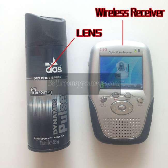 2.4GHz Wireless Hidden Camera Body Spray Bottle with Portable Receiver-100mw High Power Transmitter